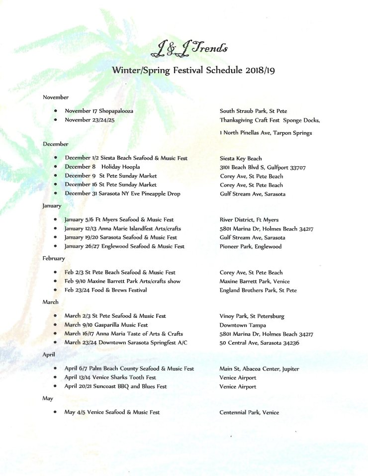 2018-2019 Festival Schedule – J & J Trends Schedule